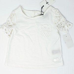 7FAM Little Girls Crochet Sleeve Top